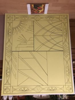 Art Deco Hinton Wood drawing/measuring layout for commission 2019