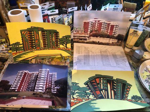 Hand painted sketches of proposed building in Deco style