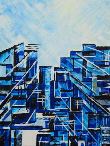 Urban in Blue FRAMED PRINT