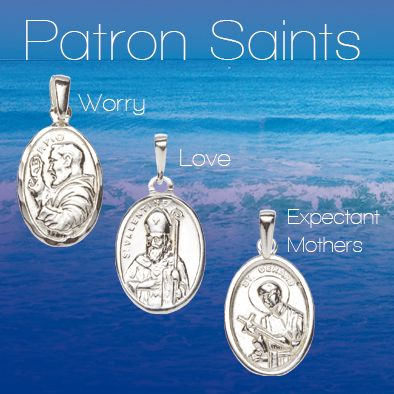 Silver medals of Saint Pio, Saint Valentine, Patron Saint of  Love and Saint Gerard Patron Saint of Expectant Mothers and Pregnancy