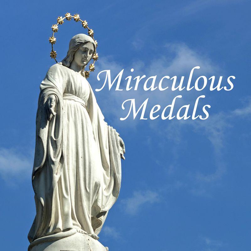 Statue of Mary in stance feature on Miraculous Medals