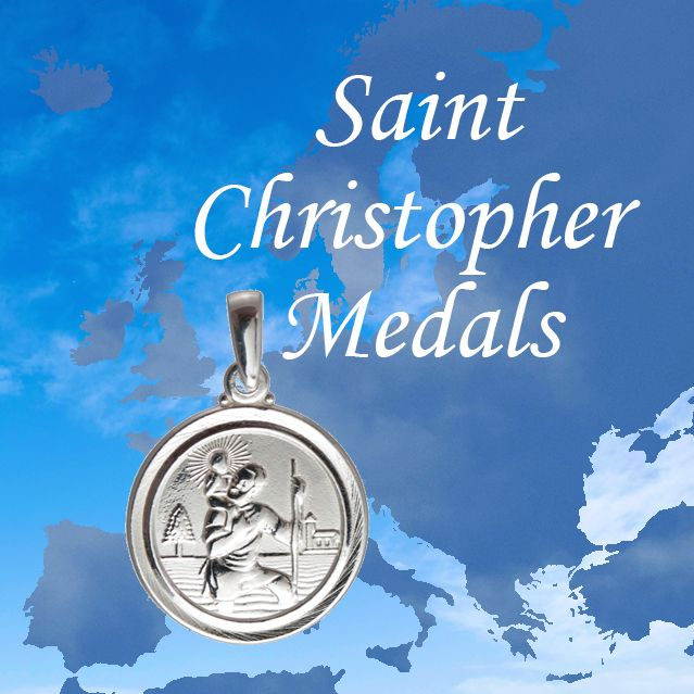 Sterling SIlver St Christopher Medal on map of Europe