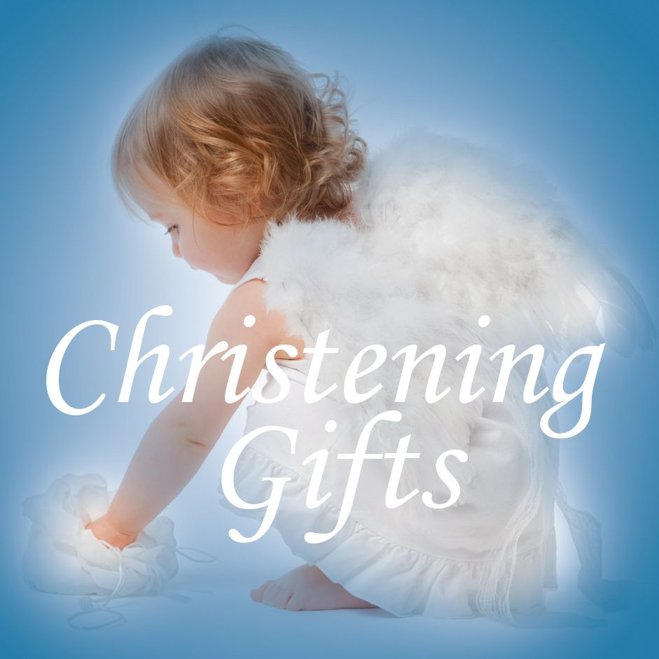 Little girl dressed as an Angel with Christening Gifts title across