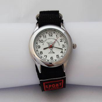 Boys First Communion Watch, Black Velcro Strap