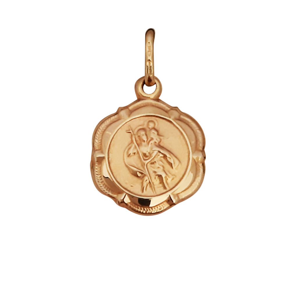 14mm 9ct St Christopher Medal
