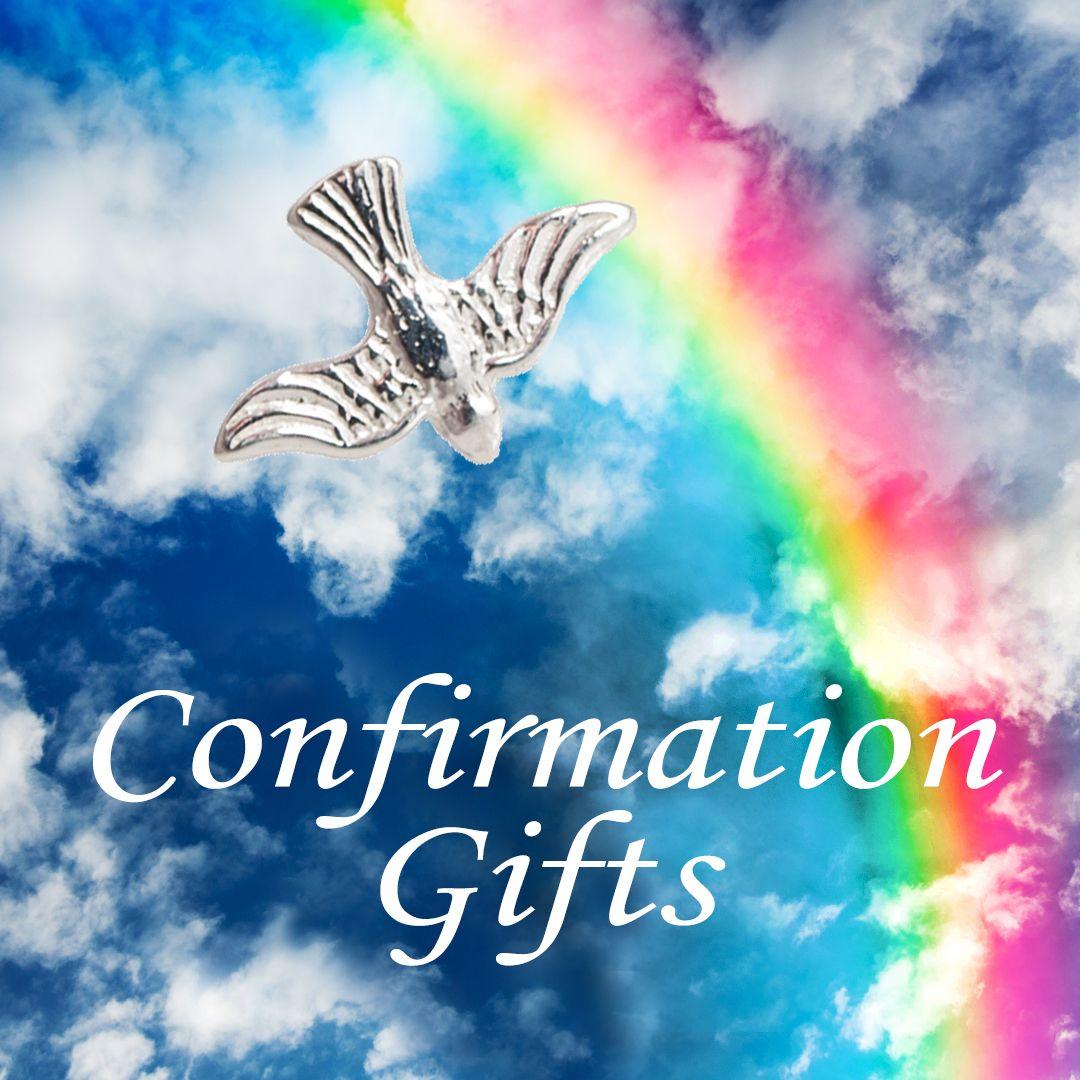 Confirmation Dove on rainbox lit sky