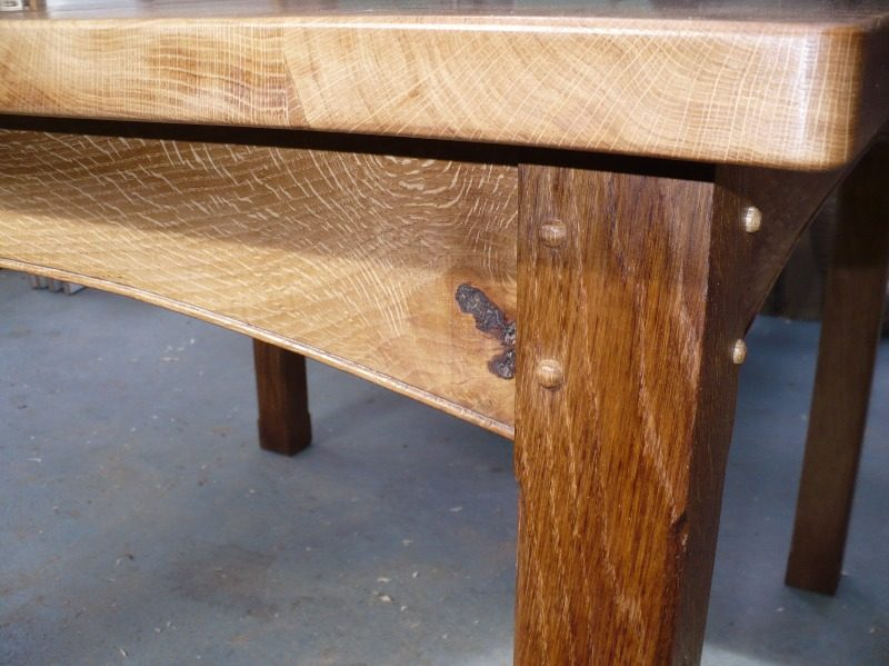 detail of an oak dining table