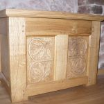 Oak chest with carved Oak leaf panels