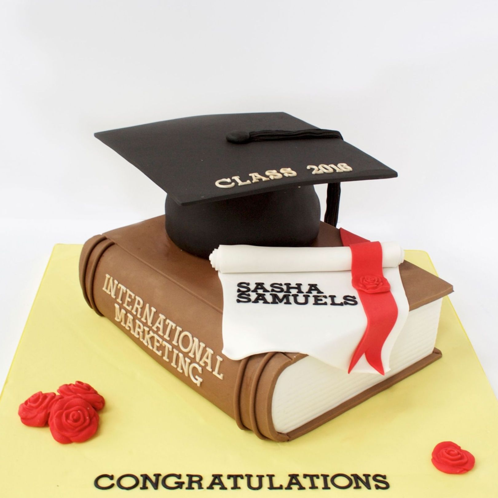 Graduation cake book and hat cup