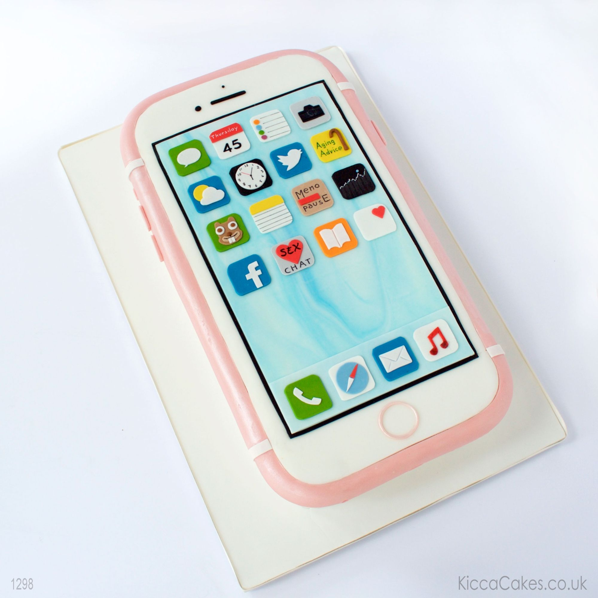 3D rose gold iphone cake with personalised icons app