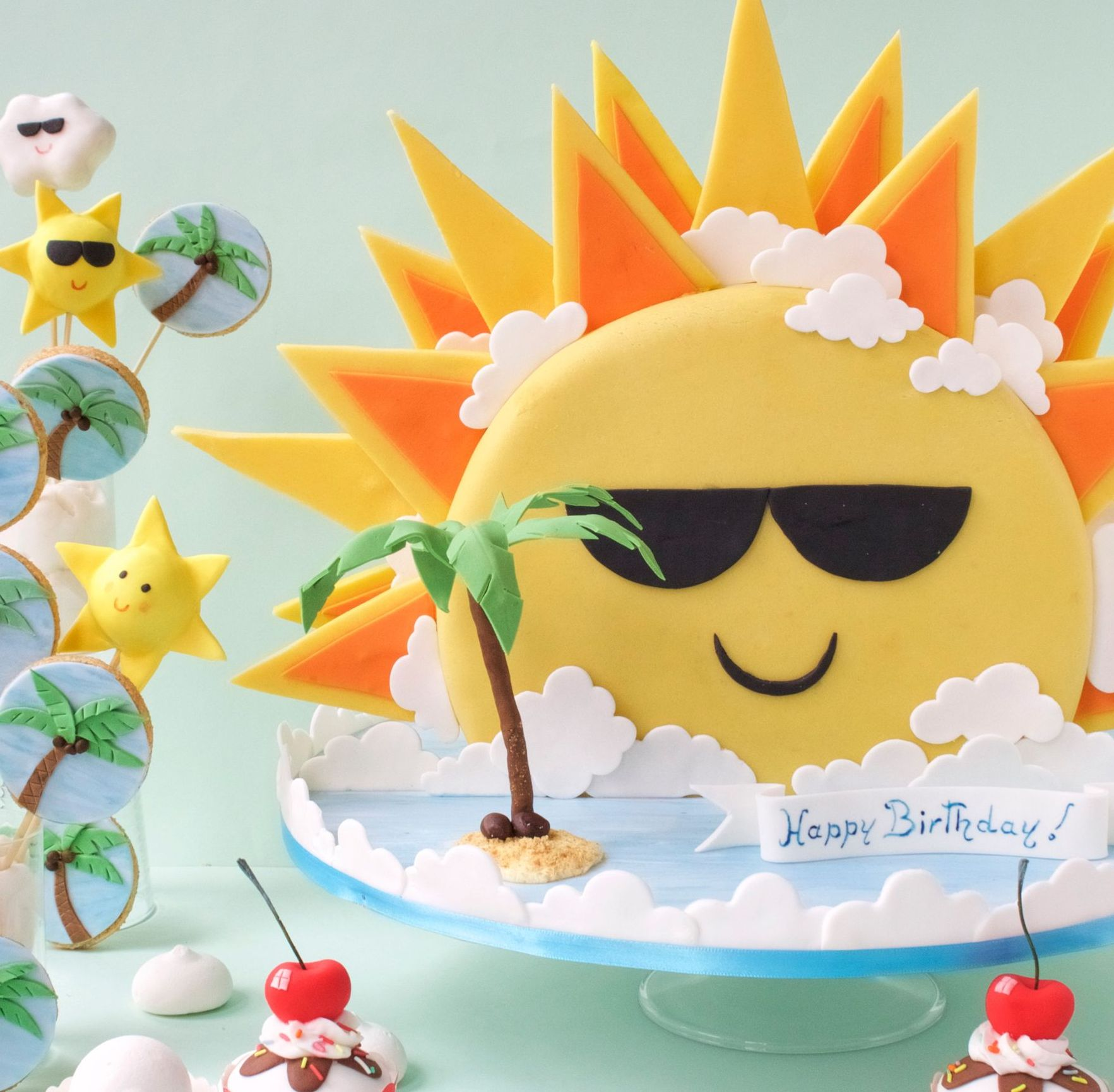 sunshine tropical cake cake pops and cookies