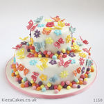 1150 - butterflies and flowers kids cake