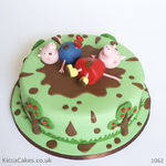 1162 - peppa pig and george muddy puddles cake