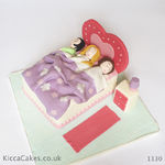 1130 - pyjamas party bed cake