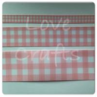 Pearl Pink Checked Grosgrain Ribbon
