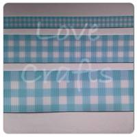 Light Blue Checked Grosgrain Ribbon