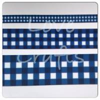 Light Navy Checked Grosgrain Ribbon