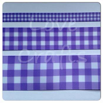 Light Orchid Checked Grosgrain Ribbon
