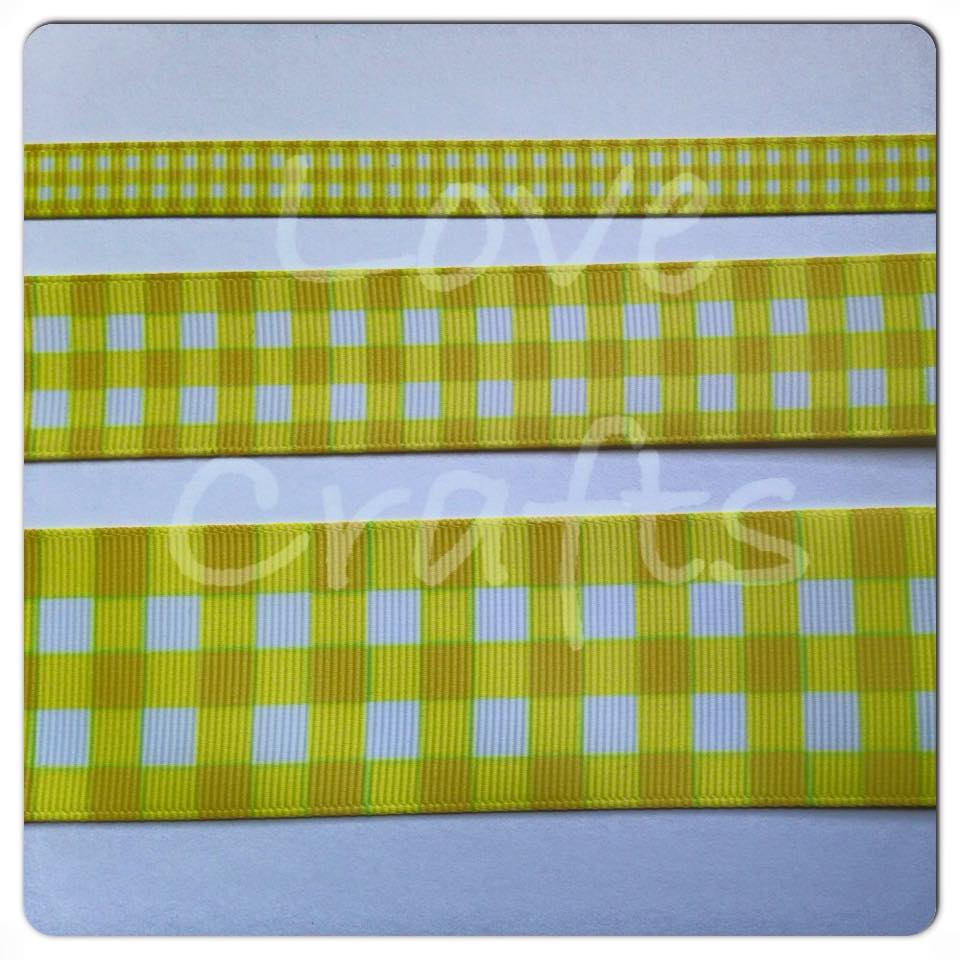 Daffodil Checked Grosgrain Ribbon