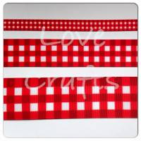 Poppy Red Checked Grosgrain Ribbon