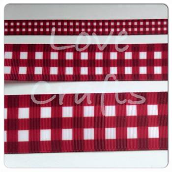 Wine Checked Grosgrain Ribbon