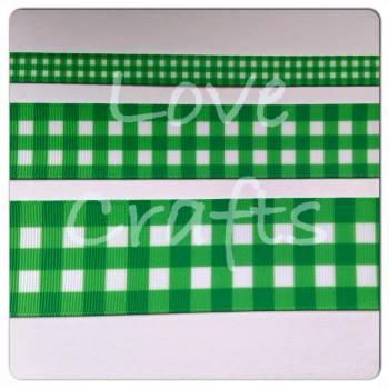 Fern Green Checked Grosgrain Ribbon