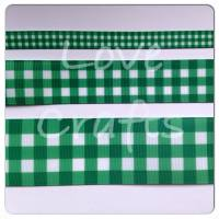 Forest Green Checked Grosgrain Ribbon