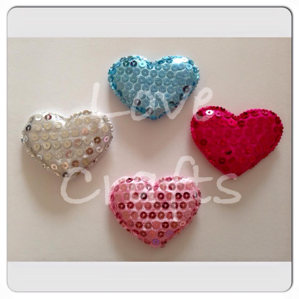Padded Sequin Hearts