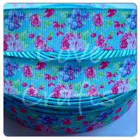 "1 metre - 1"" Pastel Floral Grosgrain Ribbon"