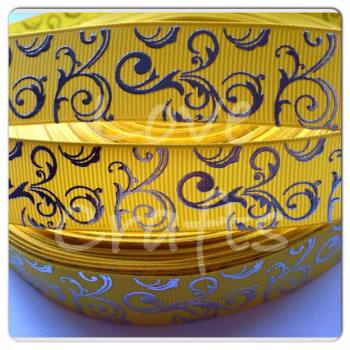 "1 metre - 7/8"" Yellow with Silver Swirls Grosgrain Ribbon"