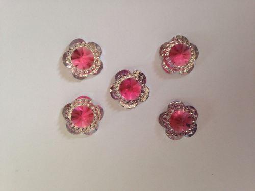 4x Pink & Silver Sparkle Flower Flatback Resin