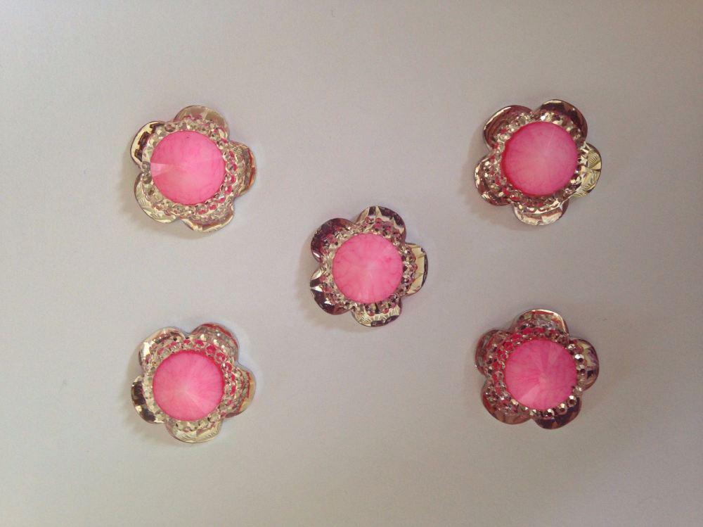 4x Pink & Silver Sparkle Medium Flower Flatback Resin