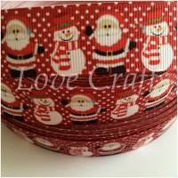 "1 metre - 1"" Santa & Snowman on Red Grosgrain Ribbon"