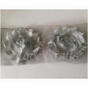 "2.5"" Silver Glitter Shabby Flowers"