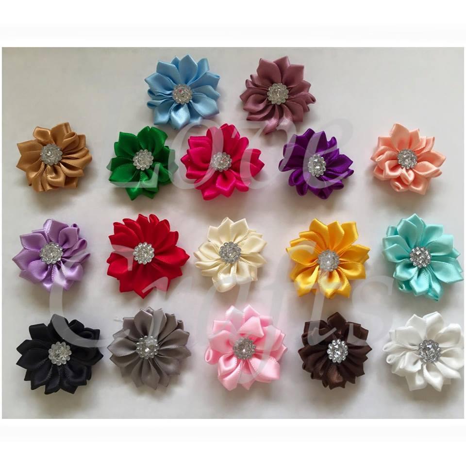 Bling Satin Flower Bows