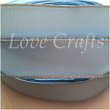 "1 metre - 1"" Light Blue with Silver Edging Grosgrain Ribbon"