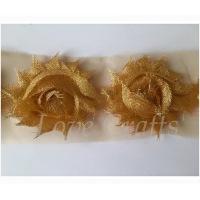 """2.5"""" Gold Glitter Shabby Flowers"""