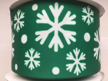 "3"" Green Snowflake Grosgrain Ribbon"