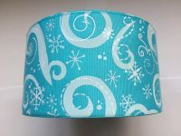 "3"" White Glitter Snowflake Swirls on Turquoise Grosgrain Ribbon"