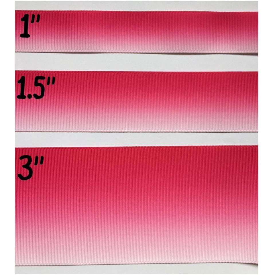 Hot Pink Ombre Grosgrain Ribbon