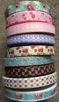 "7/8"" and 1"" Florals Grosgrain Ribbon"