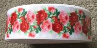 "1 metre - 1.5"" Red & Pink Flowers on White Grosgrain Ribbon"