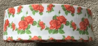 "1 metre - 1.5"" Red Flowers on White Grosgrain Ribbon"