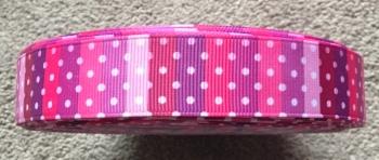 "1 metre - 7/8"" Pinky Stripes & Spots Grosgrain Ribbon"