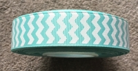 "1 metre - 7/8"" Aqua Chevron Grosgrain Ribbon"