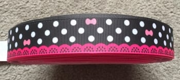 "1 metre - 7/8"" Bows, Dots & Lace on Black Grosgrain Ribbon"