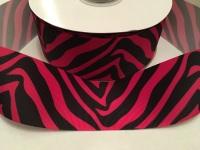 "2"" Black/Pink Zebra Print Grosgrain Ribbon"