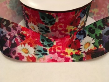 "2"" Rainbow Floral Grosgrain Ribbon"