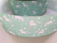 "2"" Green Unicorn Grosgrain Ribbon"