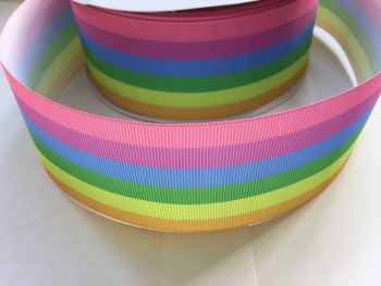 "2"" Pastel Rainbow Grosgrain Ribbon"